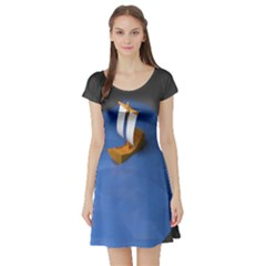 Low Poly Boat Ship Sea Beach Blue Short Sleeve Skater Dress