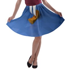 Low Poly Boat Ship Sea Beach Blue A-line Skater Skirt