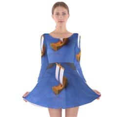 Low Poly Boat Ship Sea Beach Blue Long Sleeve Velvet Skater Dress