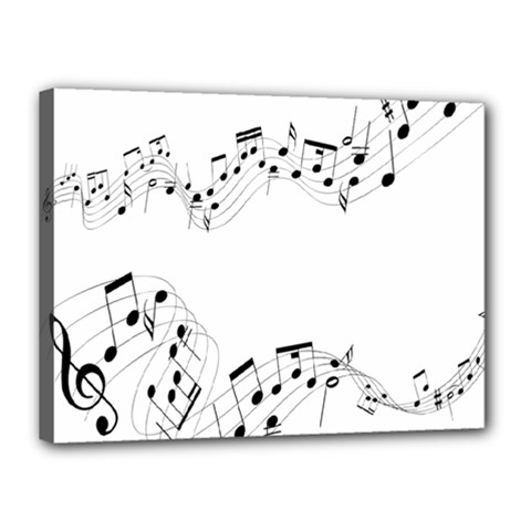 Music Note Song Black White Canvas 16  x 12
