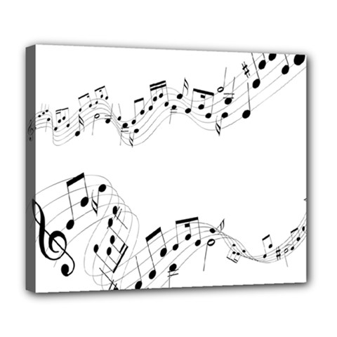 Music Note Song Black White Deluxe Canvas 24  x 20