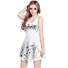 Music Note Song Black White Reversible Sleeveless Dress