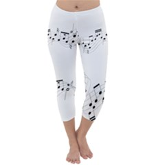 Music Note Song Black White Capri Winter Leggings