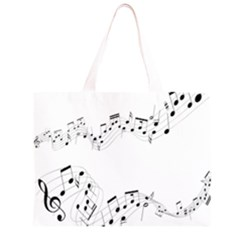 Music Note Song Black White Large Tote Bag