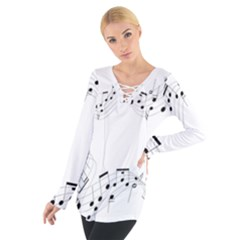 Music Note Song Black White Women s Tie Up Tee