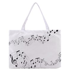 Music Note Song Black White Medium Zipper Tote Bag