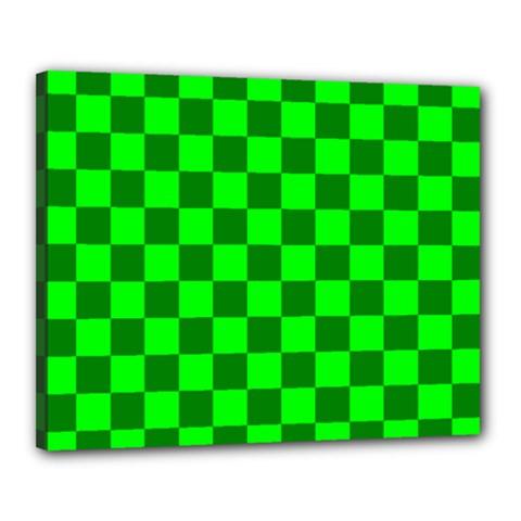 Plaid Flag Green Canvas 20  x 16