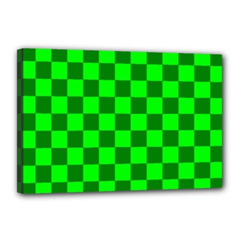 Plaid Flag Green Canvas 18  x 12
