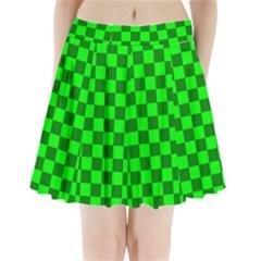 Plaid Flag Green Pleated Mini Skirt