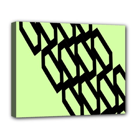 Polygon Abstract Shape Black Green Deluxe Canvas 20  x 16