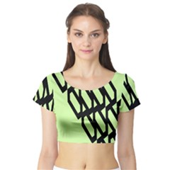 Polygon Abstract Shape Black Green Short Sleeve Crop Top (Tight Fit)