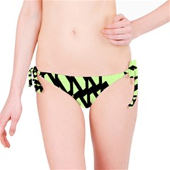 Polygon Abstract Shape Black Green Bikini Bottom
