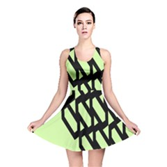 Polygon Abstract Shape Black Green Reversible Skater Dress