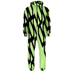 Polygon Abstract Shape Black Green Hooded Jumpsuit (Men)
