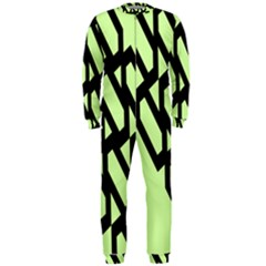 Polygon Abstract Shape Black Green OnePiece Jumpsuit (Men)