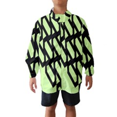 Polygon Abstract Shape Black Green Wind Breaker (Kids)