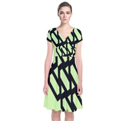 Polygon Abstract Shape Black Green Short Sleeve Front Wrap Dress