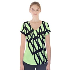 Polygon Abstract Shape Black Green Short Sleeve Front Detail Top