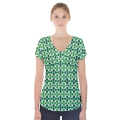 Green White Wave Short Sleeve Front Detail Top
