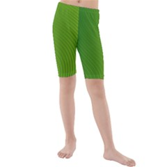 Green Wave Waves Line Kids  Mid Length Swim Shorts