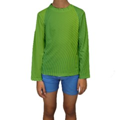 Green Wave Waves Line Kids  Long Sleeve Swimwear