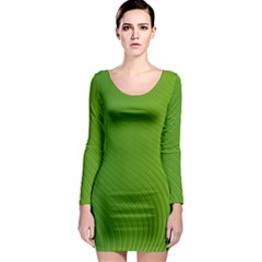 Green Wave Waves Line Long Sleeve Bodycon Dress