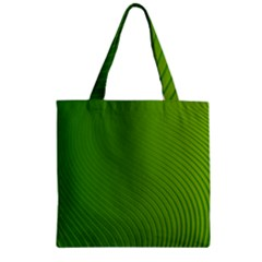 Green Wave Waves Line Zipper Grocery Tote Bag