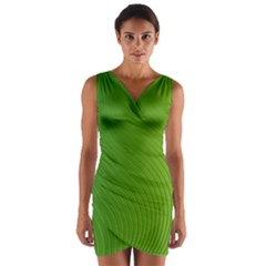 Green Wave Waves Line Wrap Front Bodycon Dress
