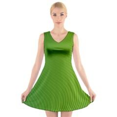 Green Wave Waves Line V-Neck Sleeveless Skater Dress