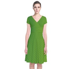 Green Wave Waves Line Short Sleeve Front Wrap Dress