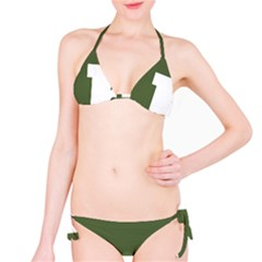 Square Alphabet Green White Sign Bikini Set