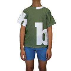 Square Alphabet Green White Sign Kids  Short Sleeve Swimwear