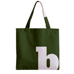 Square Alphabet Green White Sign Zipper Grocery Tote Bag