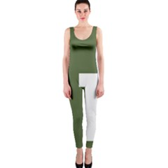 Square Alphabet Green White Sign OnePiece Catsuit