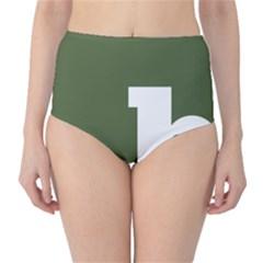 Square Alphabet Green White Sign High-Waist Bikini Bottoms