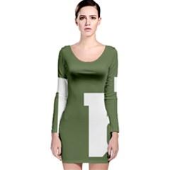 Square Alphabet Green White Sign Long Sleeve Velvet Bodycon Dress