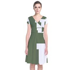 Square Alphabet Green White Sign Short Sleeve Front Wrap Dress