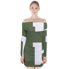 Square Alphabet Green White Sign Long Sleeve Off Shoulder Dress