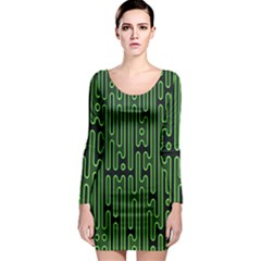 Pipes Green Light Circle Long Sleeve Bodycon Dress