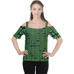 Pipes Green Light Circle Women s Cutout Shoulder Tee