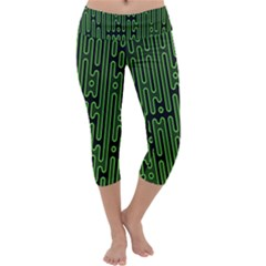 Pipes Green Light Circle Capri Yoga Leggings