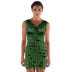 Pipes Green Light Circle Wrap Front Bodycon Dress
