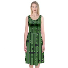 Pipes Green Light Circle Midi Sleeveless Dress