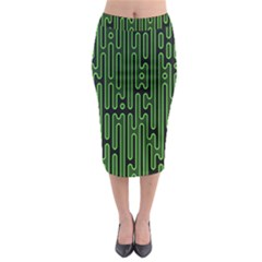 Pipes Green Light Circle Midi Pencil Skirt