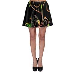 Flowers Neon Color Skater Skirt