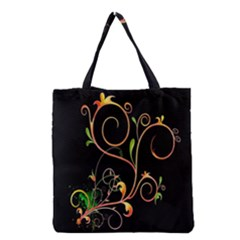 Flowers Neon Color Grocery Tote Bag