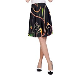 Flowers Neon Color A-Line Skirt