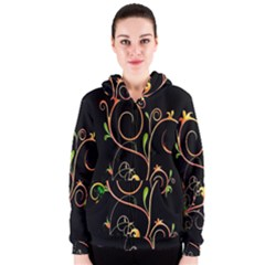 Flowers Neon Color Women s Zipper Hoodie