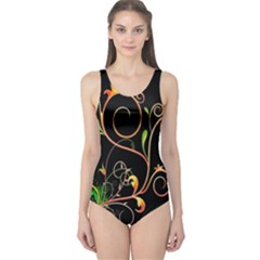 Flowers Neon Color One Piece Swimsuit