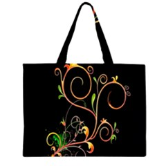 Flowers Neon Color Large Tote Bag